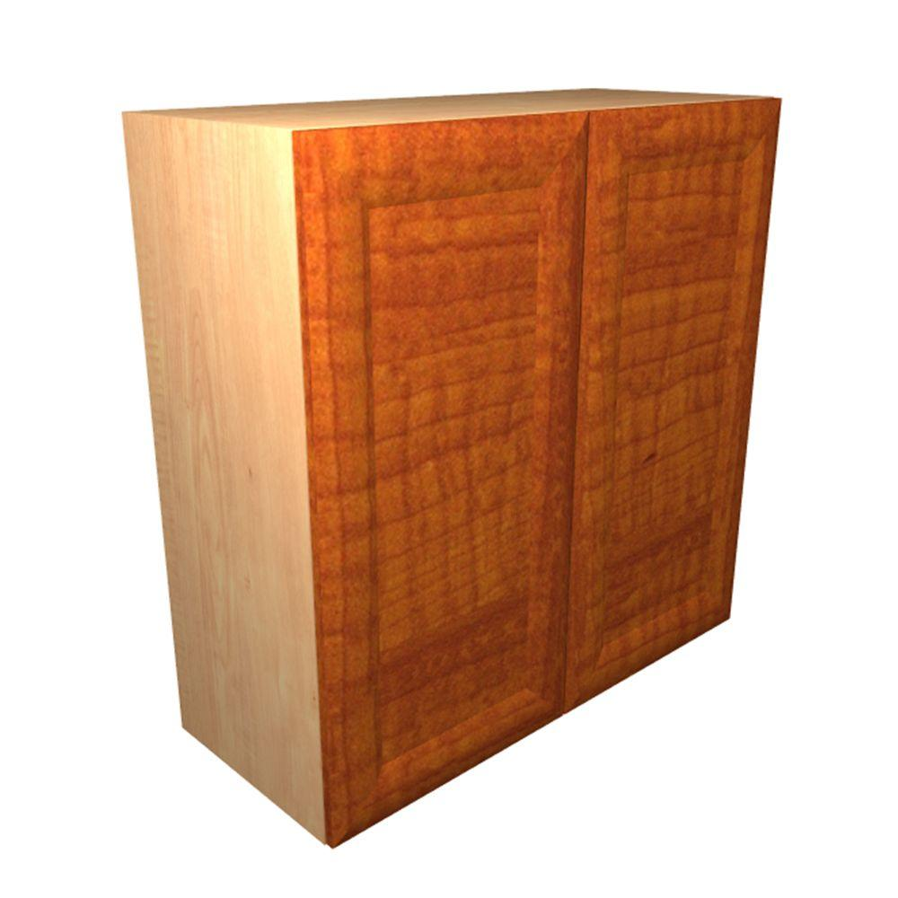 Home Decorators Ready To Assemble Wall Cabinet Frosted Pull Down Shelves Soft Close Doors Cognac Dolomiti