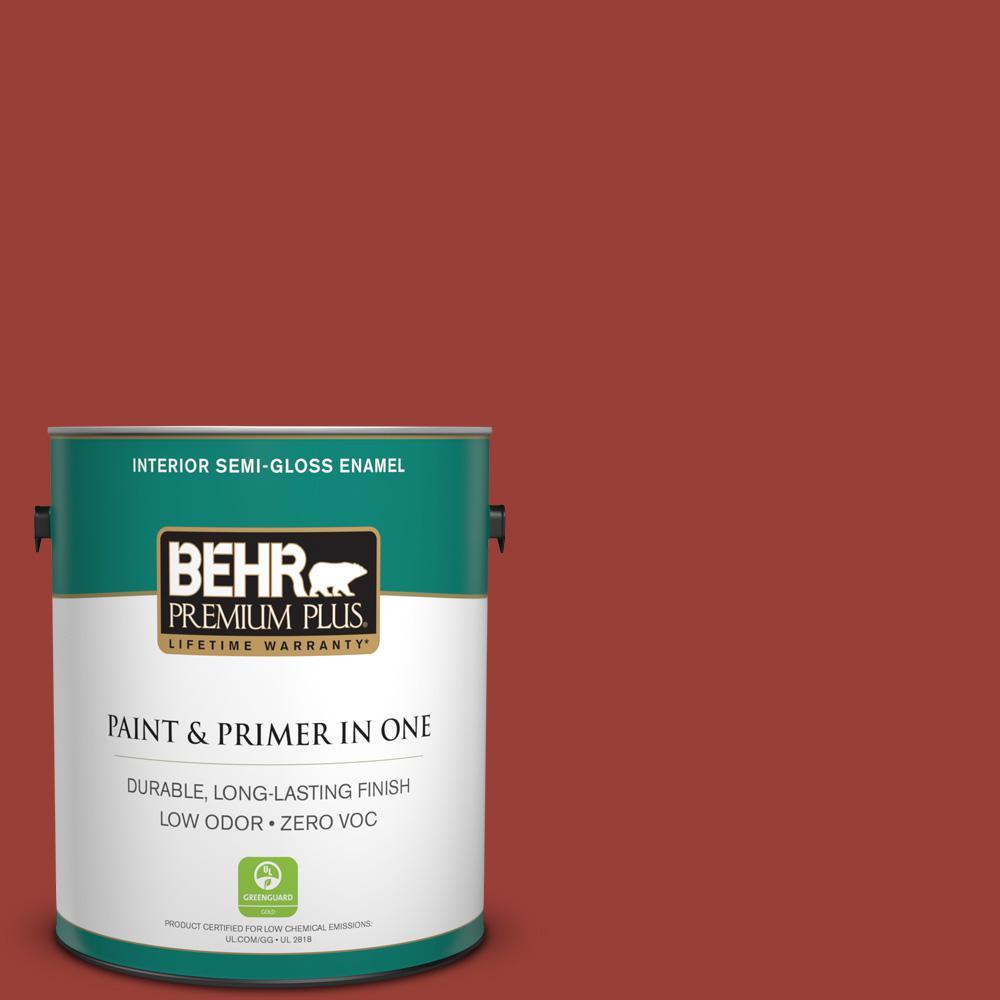 BEHR Premium Plus 1-gal. #S-H-190 Antique Red Zero VOC Semi-Gloss Enamel Interior Paint