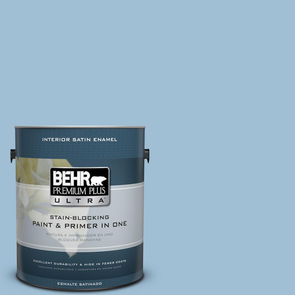 Behr Premium Plus Ultra 1 Gal Ppu14 11 Gentle Sky Satin Enamel Interior Paint And Primer In