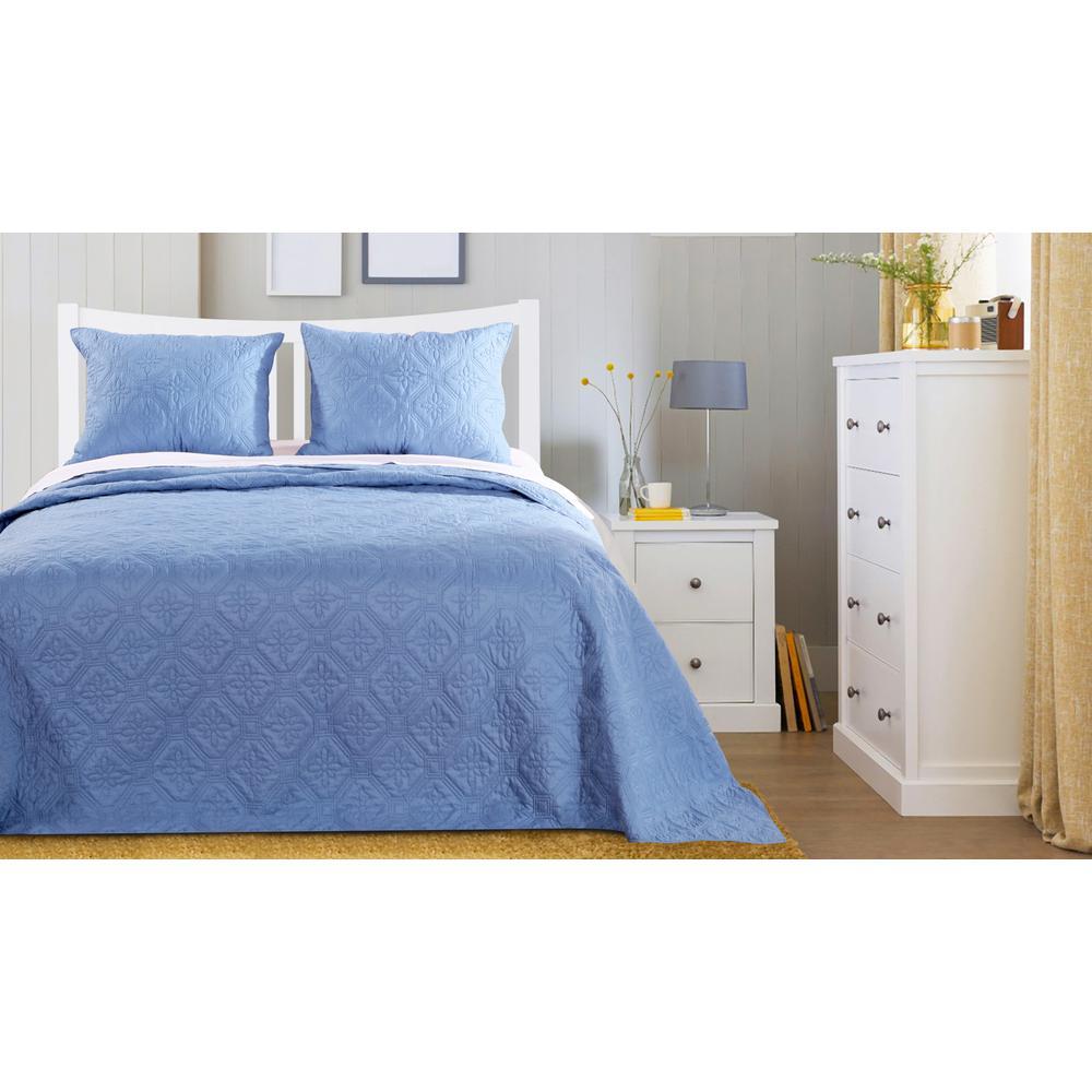Central Park 3-Piece Mineral Blue Queen Bedspread Set