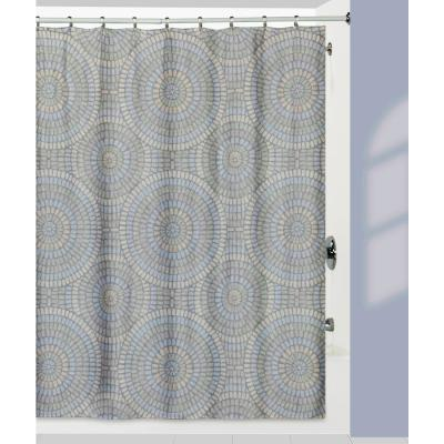 Capri' Shower Curtain with Matching Bath Rug Made from 100% Cotton