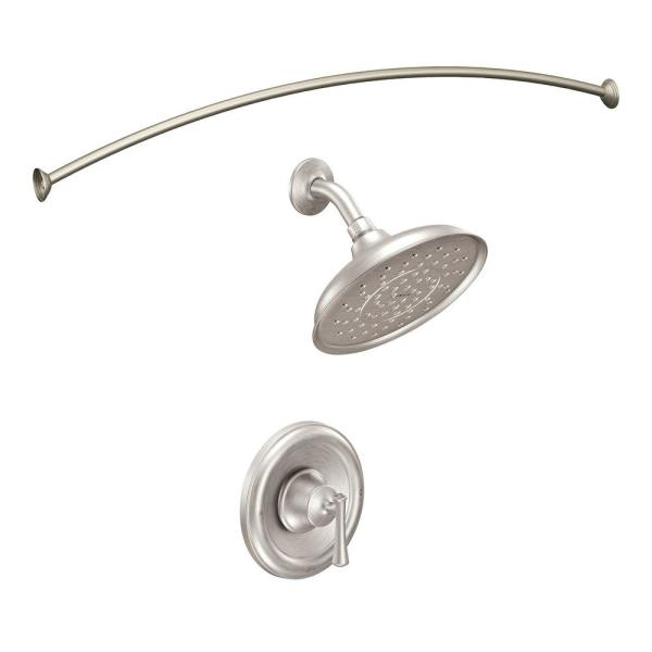 Ashville 1-Spray Single-Handle Shower Faucet with Valve in Spot Resist Brushed Nickel with Curved Shower Rod