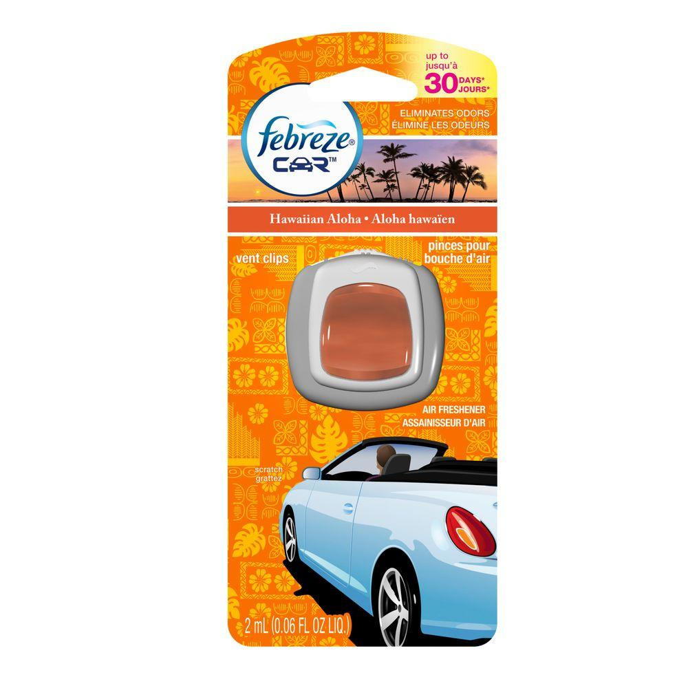 Febreze Car Vent Clips Air Freshener Odor Eliminator New: Febreze 0.06 Oz. Hawaiian Aloha Car Vent Clip Air