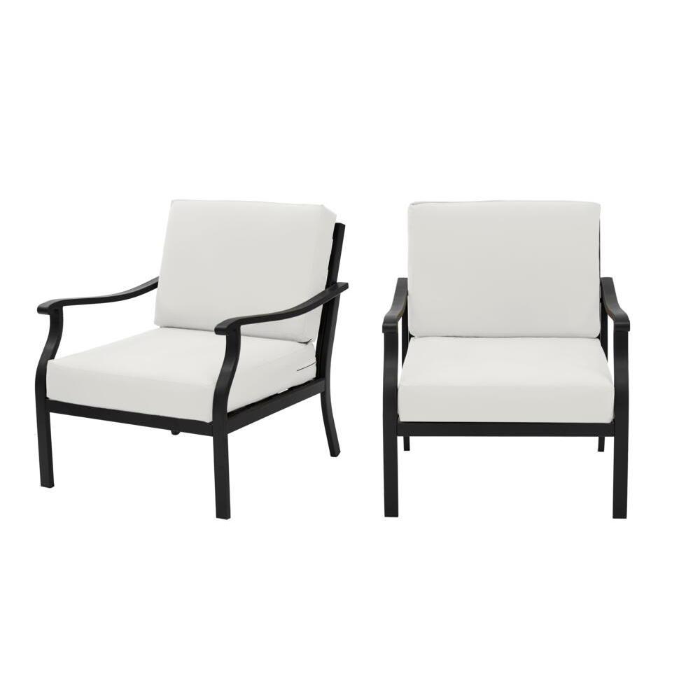 Hampton Bay Riley Black Steel Outdoor Patio Lounge Chair