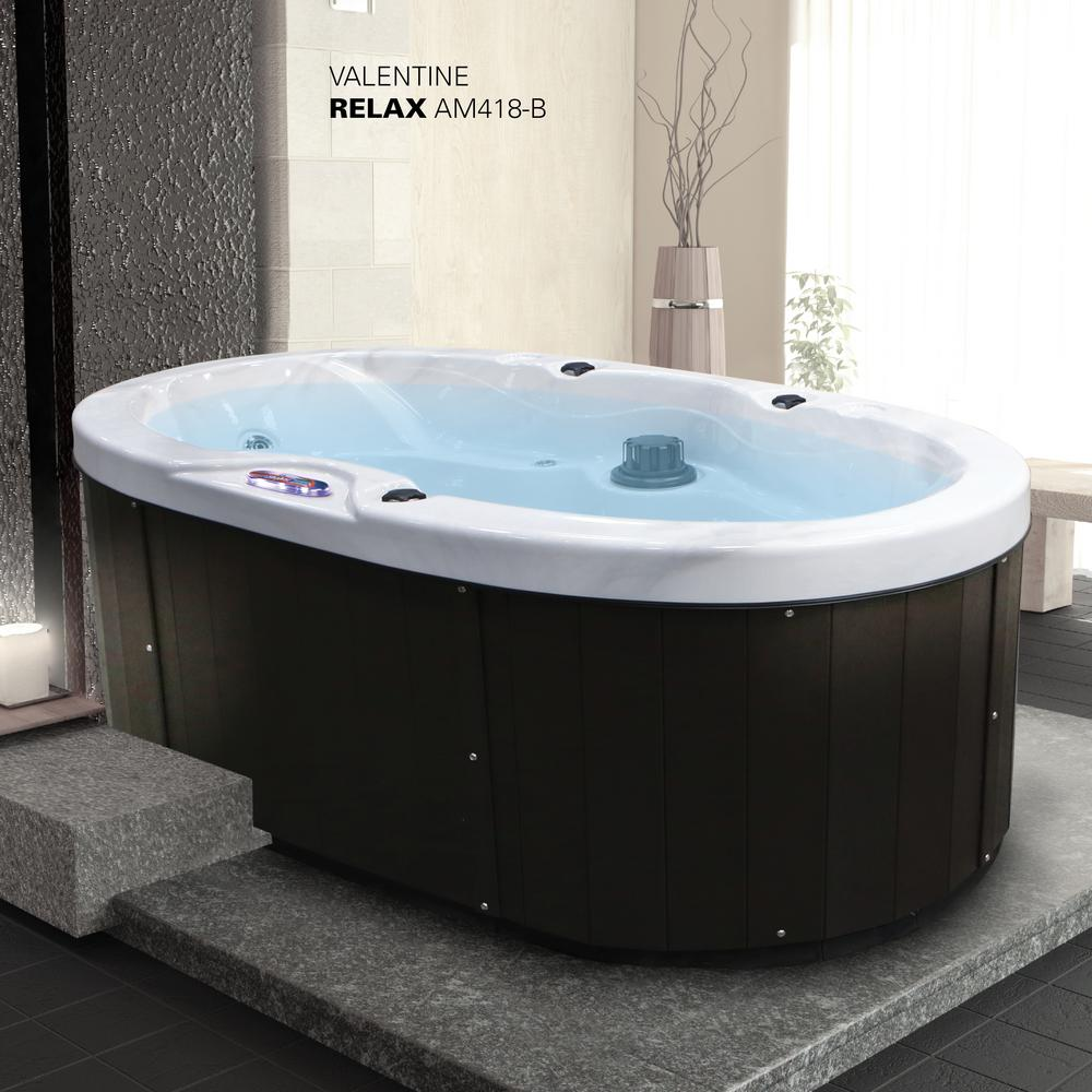 American Spas 2 Person 18 Jet Premium Acrylic Valentine Spa Hot Tub With Waterfall And Handrail