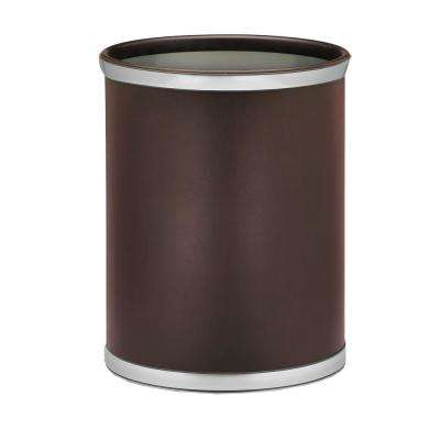 Sophisticates 13 Qt. Brown and Brushed Chrome Oval Waste Basket