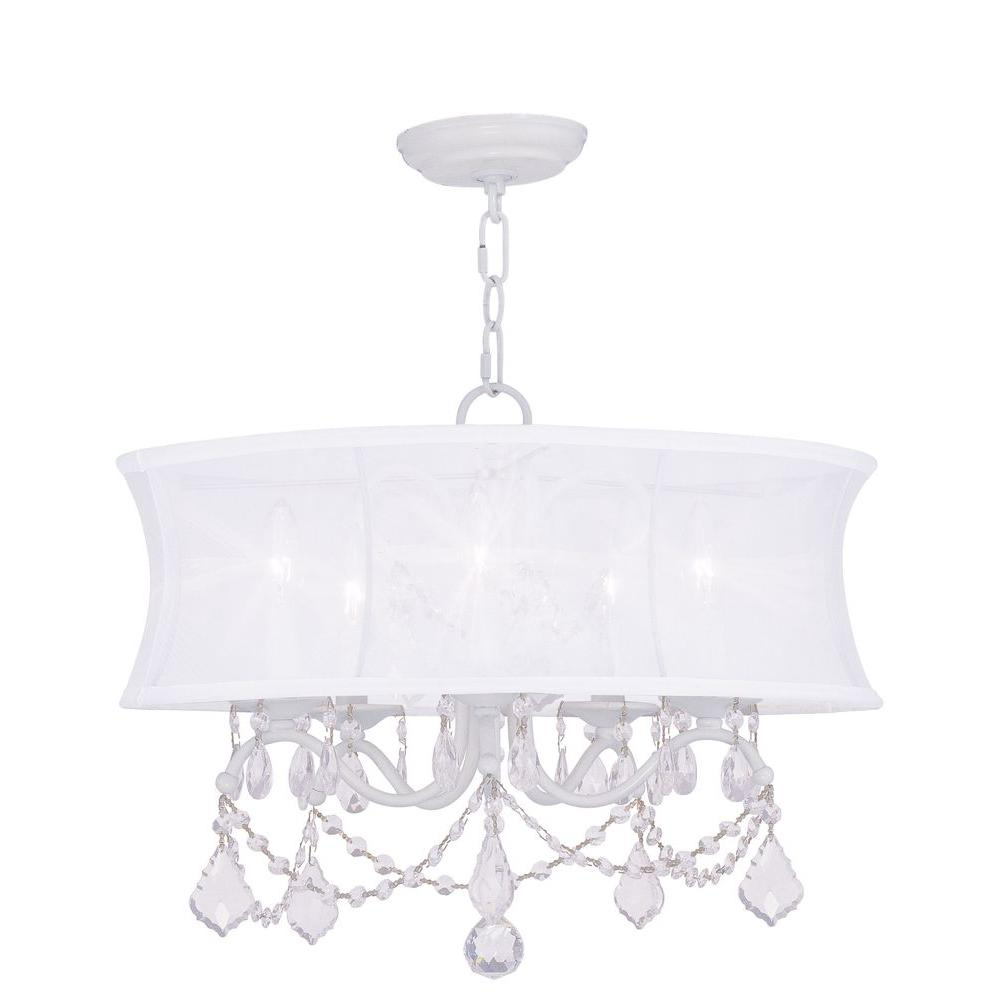 Livex lighting 5 light white chandelier with off white silk shimmer livex lighting 5 light white chandelier with off white silk shimmer shade arubaitofo Gallery