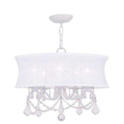5-Light White Chandelier with White Silk Shimmer Shade