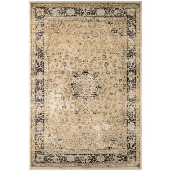 Couristan Zahara Persian Vase Oatmeal Black 8 Ft X 11 Ft Area Rug 04280402710112t The Home Depot