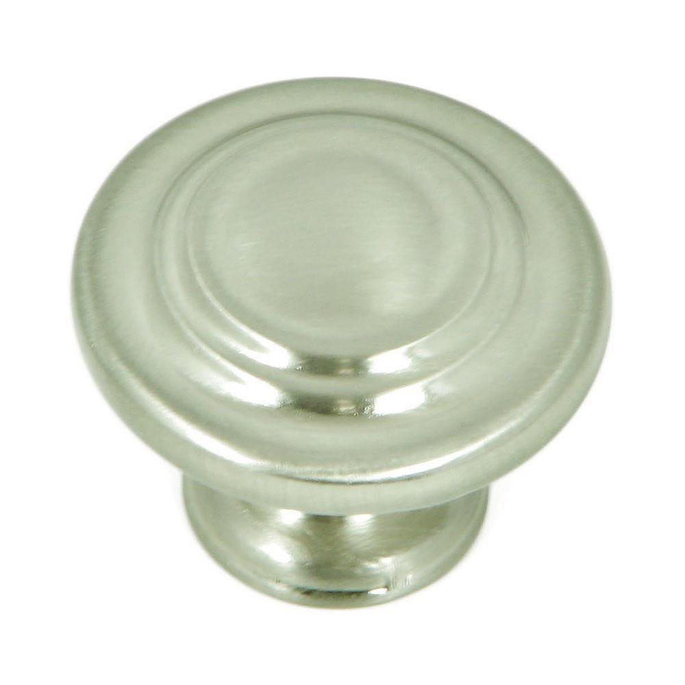 1-1/4 in. Satin Nickel Three Ring Round Cabinet Knob (10-Pack)