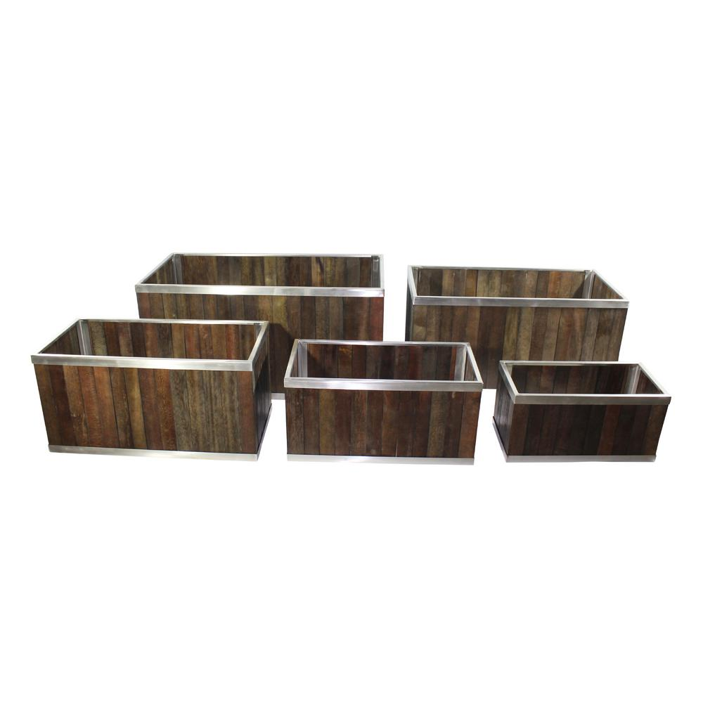 Leisure Season 12 In X 24 In Rectangular Dark Brown Wooden Planter Box With Stainless Steel Trim Wsre12db The Home Depot