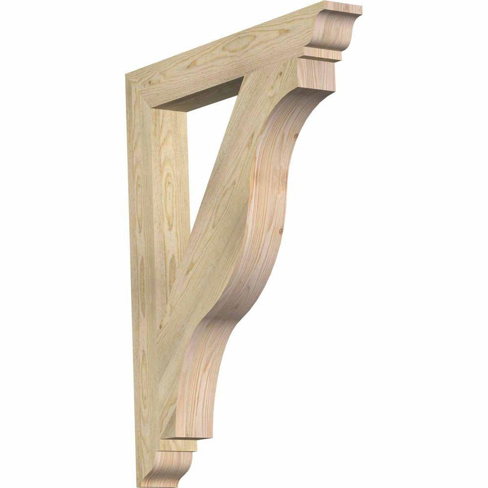 Ekena Millwork 4 in. x 38 in. x 30 in. Douglas Fir Funston Traditional Rough Sawn Bracket