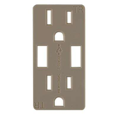 Replaceable Receptacle Faceplate in Matte Brown