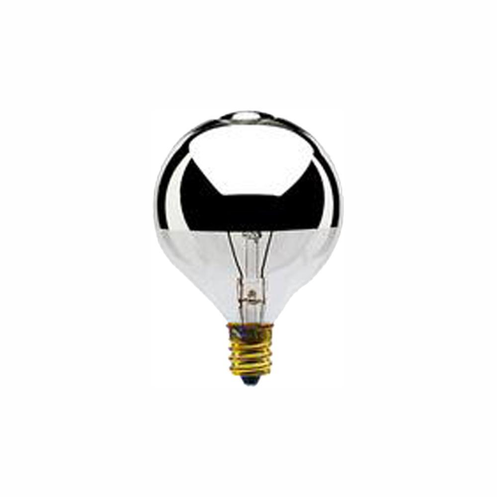 25-Watt G16.5 Half Chrome Dimmable Warm White Light Incandescent Light Bulb (25-Pack)