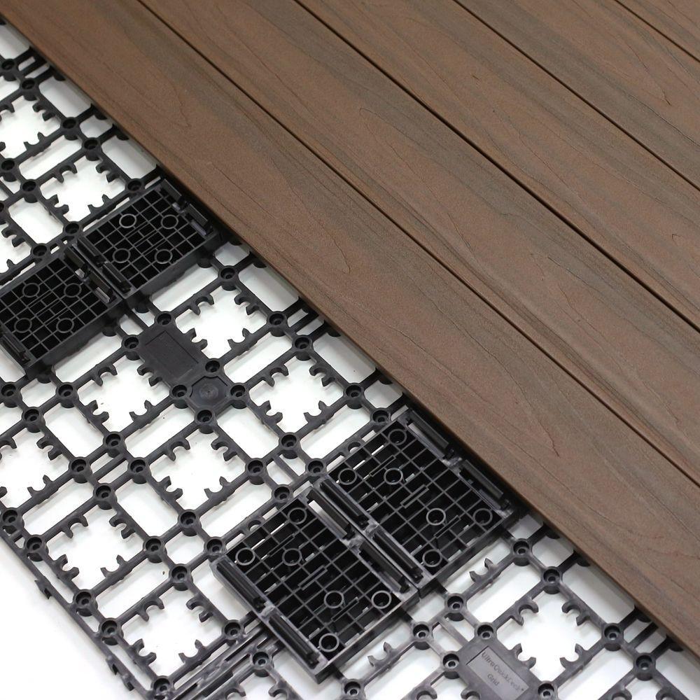 NewTechWood 8.64 Sq. Ft. Deck-A-Floor Premium Modular Outdoor Composite Flooring System Kit In