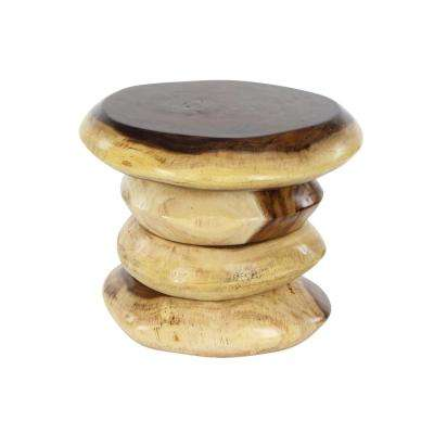 16 in. x 19 in. New Traditional Suar Wood Foot Stool in Stained Brown and Light Brown Finish