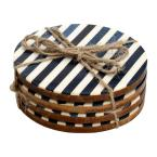 4-Piece White and Ocean Blue Striped Coaster Set