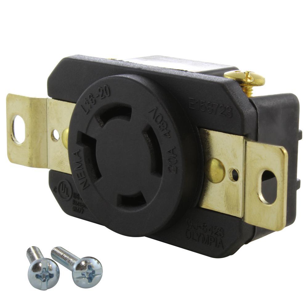 20 Amp 480-Volt 3-Phase Nema L16-20R Flush Mount Locking Industrial Grade Outlet