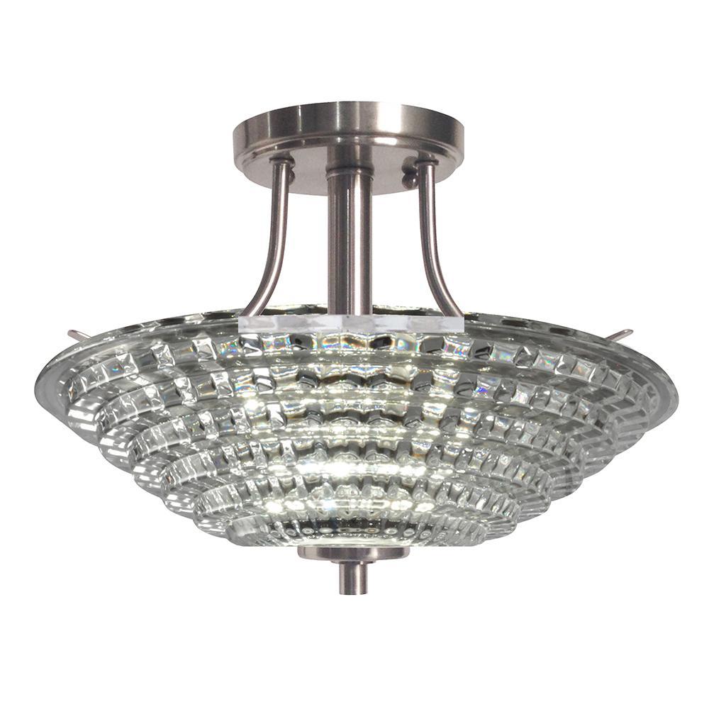 Wendy 18-Watt Satin Nickel Integrated LED Ceiling Semi-Flushmount