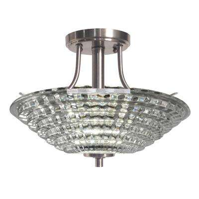 Wendy 18-Watt Satin Nickel Integrated LED Ceiling Semi-Flushmount