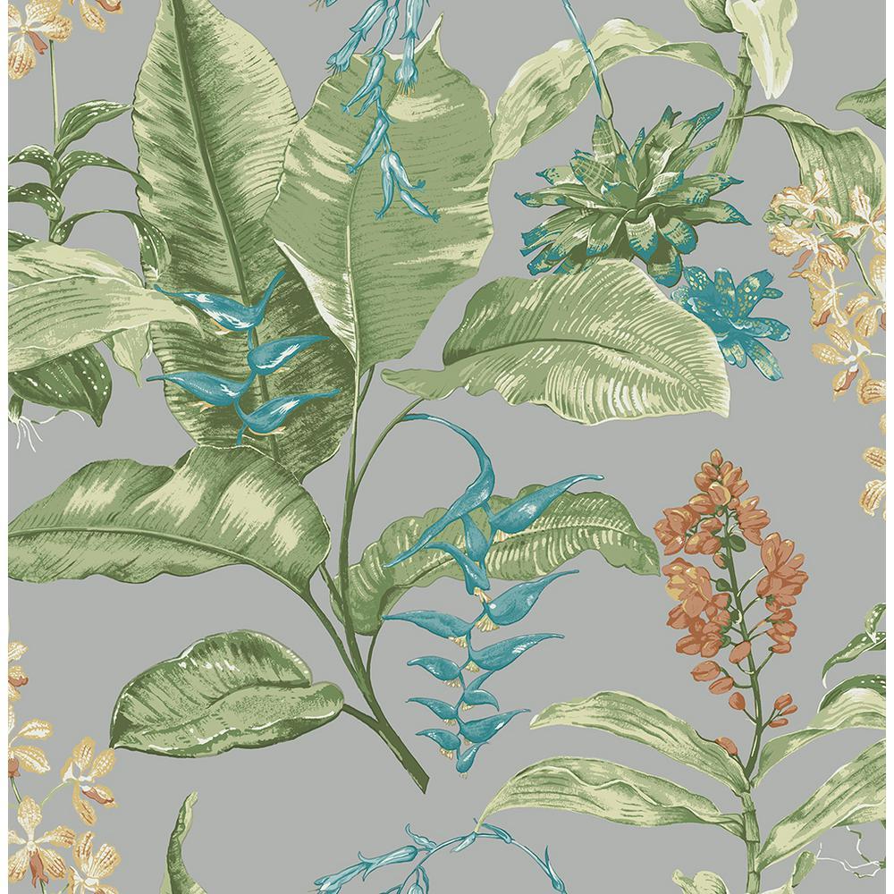 Maui Grey Botanical Wallpaper Sample