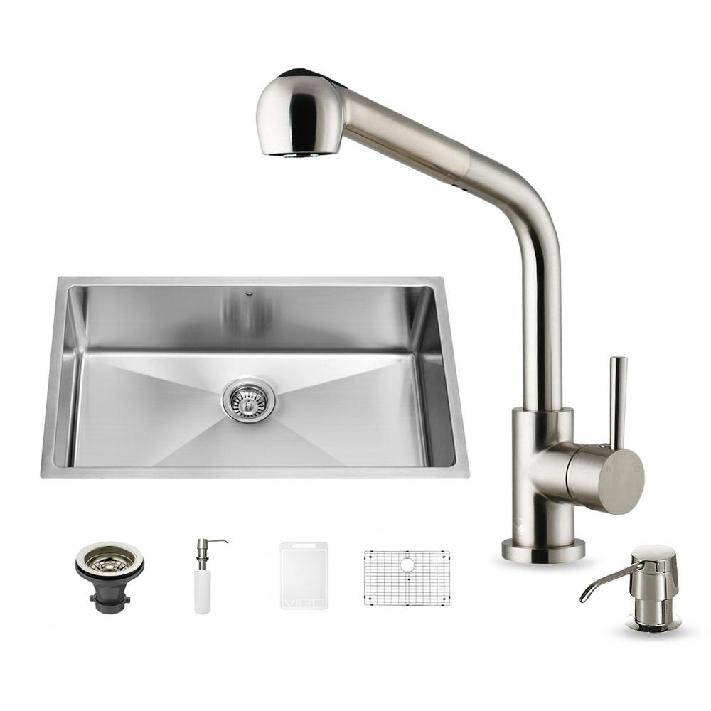 VIGO All-in-One Undermount Stainless Steel 32 in. 0-Hole Single Basin Kitchen Sink and Faucet Set