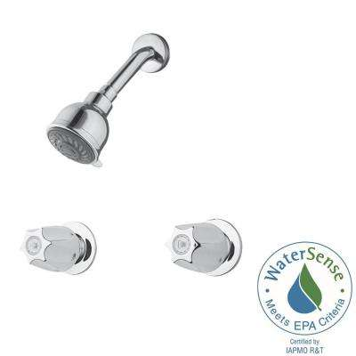 2-Handle 3-Spray Shower Faucet in Polished Chrome (Valve Included)