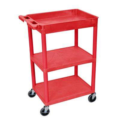 STC 24 in. 3-Shelf Utility Cart in Red