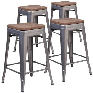 Fantastic 24 25 In Clear Coated Bar Stool Set Of 4 Gamerscity Chair Design For Home Gamerscityorg