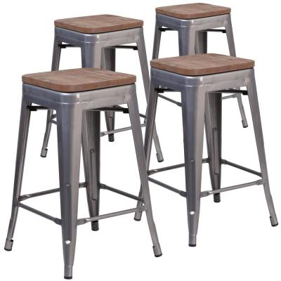 24.25 in. Clear Coated Bar Stool (Set of 4)