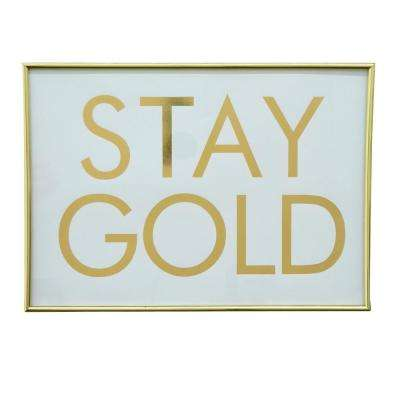 16 in. x 11.5 in. Canvas Framed Inspirational Art in Gold Wall Art