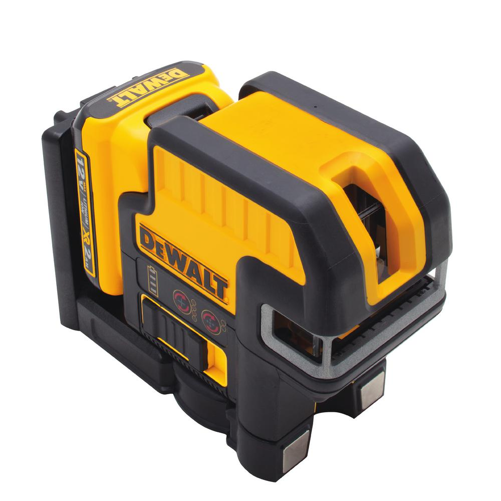 DEWALT 12-Volt MAX Lithium-Ion 100 ft. Red Self-Leveling 2-Spot Cross Line Laser with AA Battery Starter Pack & TSTAK Case