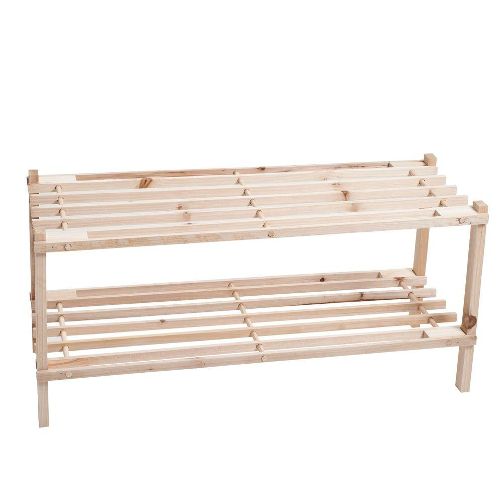 Lavish Home 2-Tier 6-Pair Blonde Wood Shoe Storage Rack-83-10-2 ...