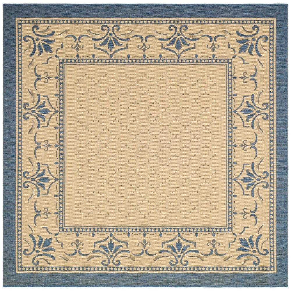 Safavieh Courtyard Natural/Blue 7 ft. 10 in. x 7 ft. 10 in. Indoor/Outdoor Square Area Rug