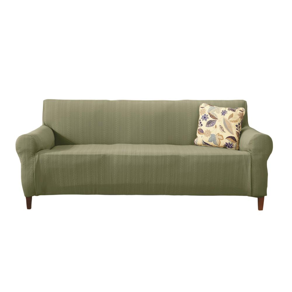 Beau This Review Is From:Darla Collection Tea Green Luxurious Cable Knit Stretch  Fit Form Fitting Sofa Slipcover