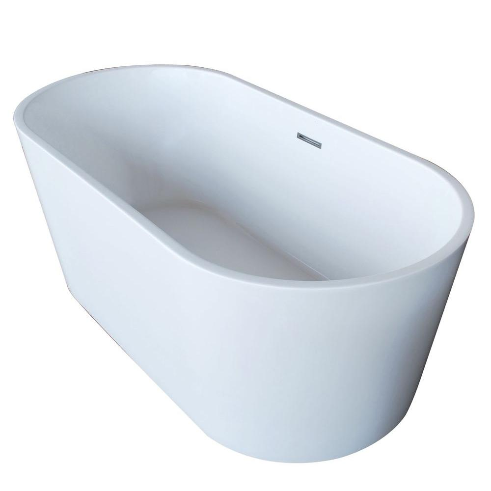 Dover 5.6 ft. Acrylic Center Drain Freestanding Bathtub in Glossy White