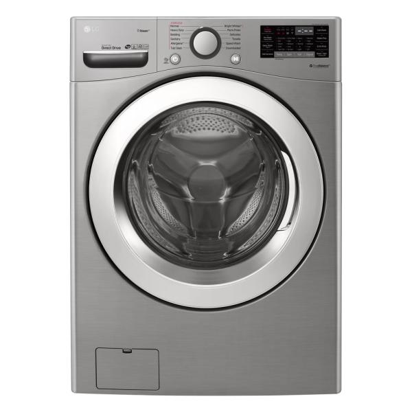LG Electronics 4.5 cu.ft. High Efficiency Large Smart Front Load Washer with Steam and Wi-Fi Enabled in Graphite Steel, ENERGY STAR