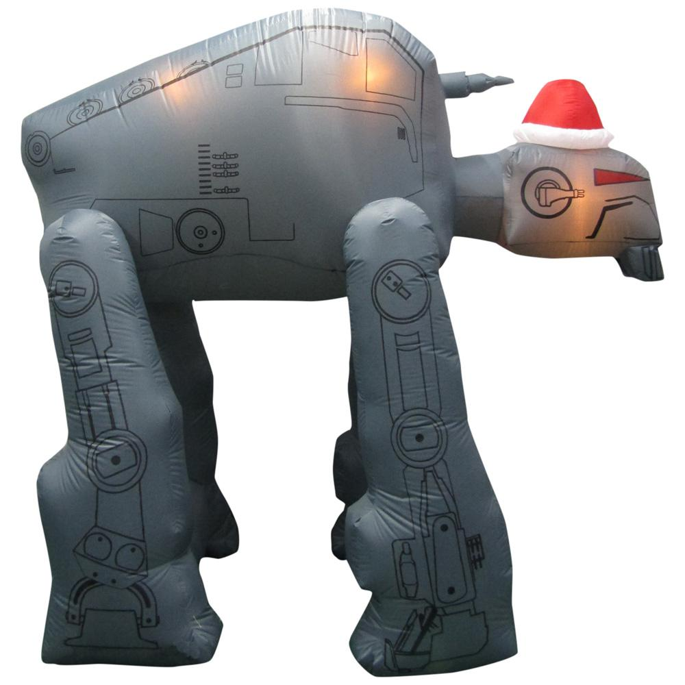 star wars 8 ft w pre lit inflatable gorilla walker with santa hat airblown - Star Wars Blow Up Christmas Decorations