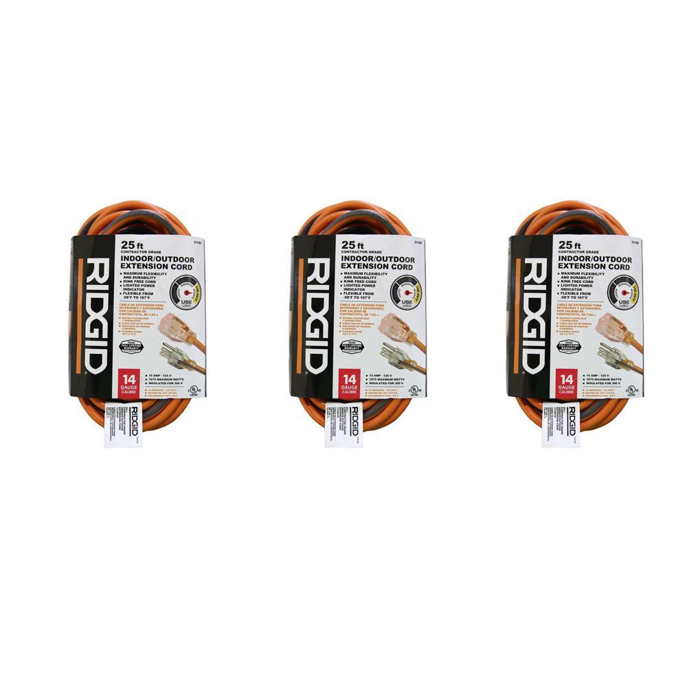 25 ft. 14/3 Heavy-Duty Contractor-Grade Indoor/Outdoor Extension Cord in Orange and Gray (3-Pack)