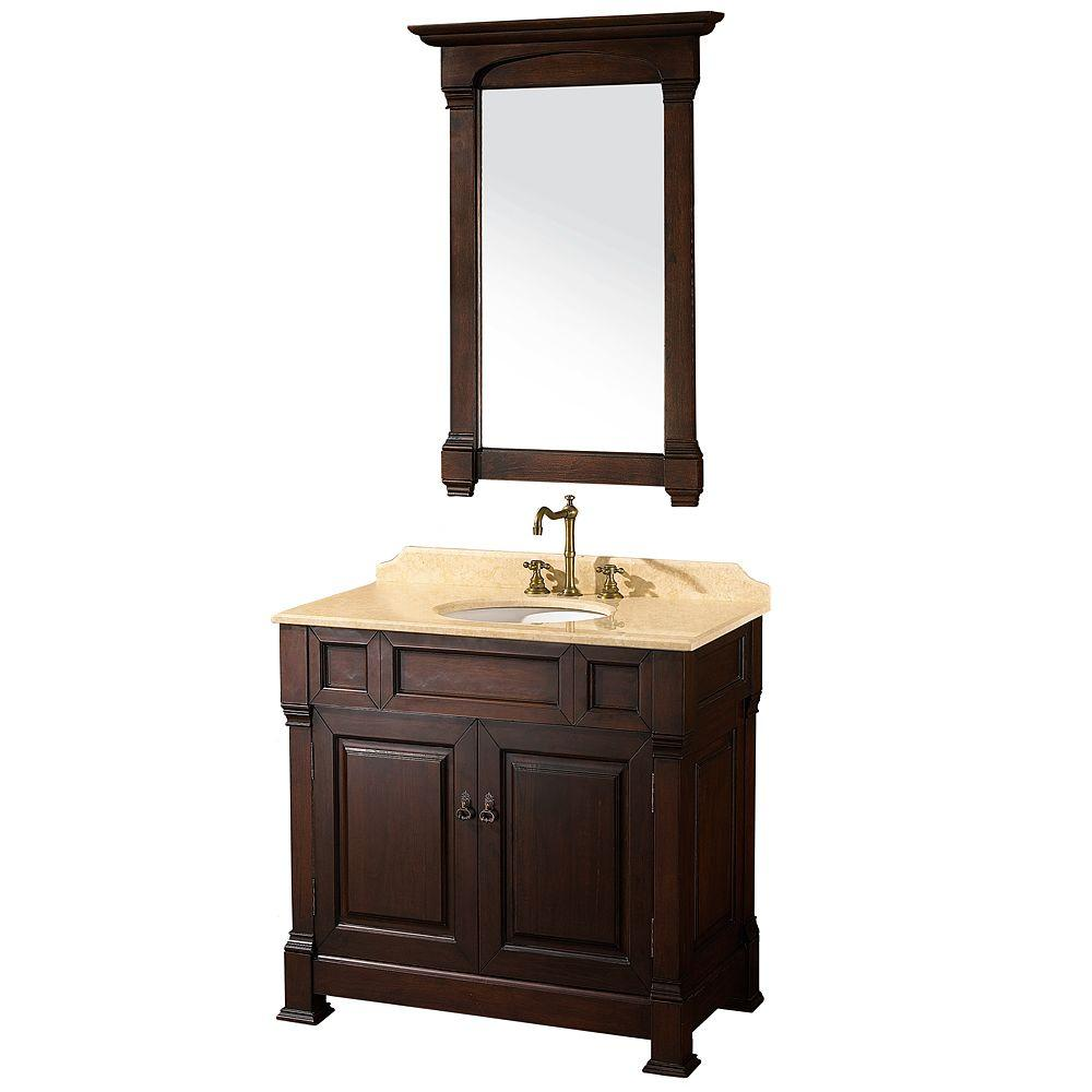 Wyndham Collection Andover 36 in. Vanity in Dark Cherry with Marble Vanity Top in Ivory and Mirror