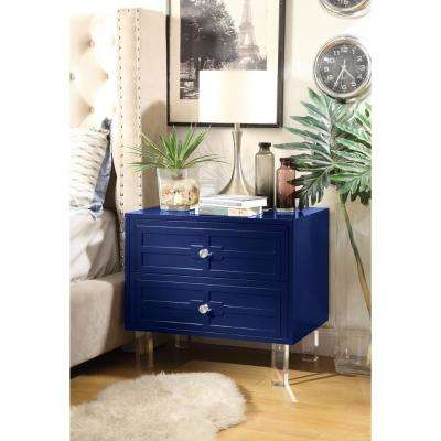 Gillian Lacquered Navy End Table Lucite Leg Nightstand