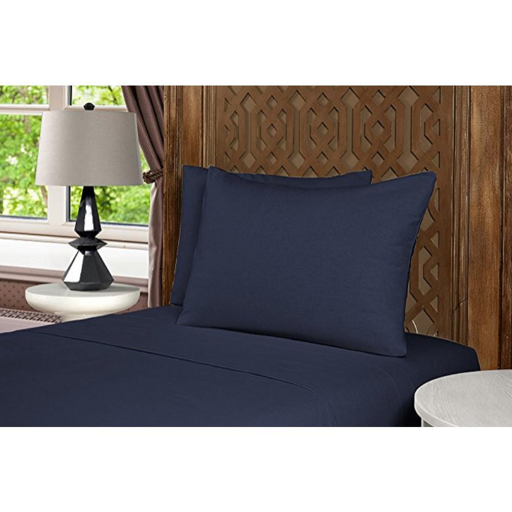 Geraldine 100% Cotton Full Blue Flannel Sheet Set