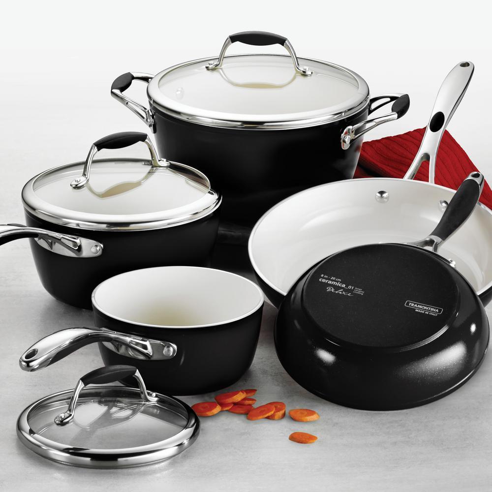 Gourmet Ceramica Deluxe 8-Piece Aluminum Ceramic Nonstick Cookware Set in Metallic Black