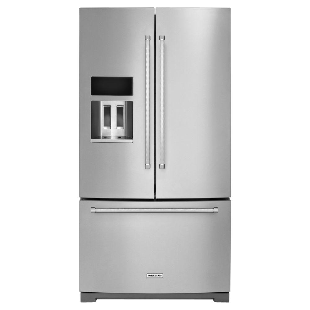 Kitchenaid 26 8 Cu Ft French Door Refrigerator In Stainless Steel