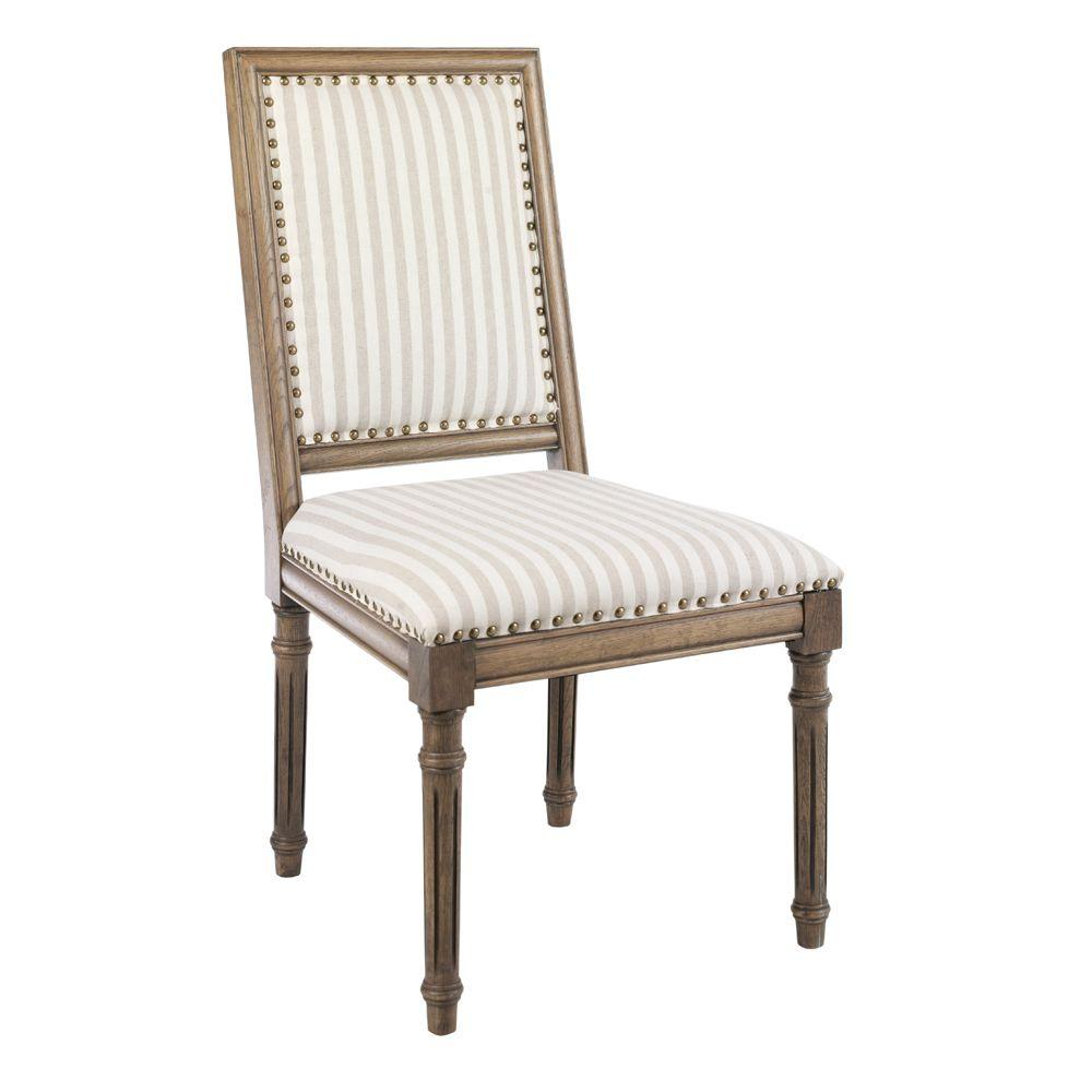Home Decorators Collection Marais Stripe Side Chair in Ivory