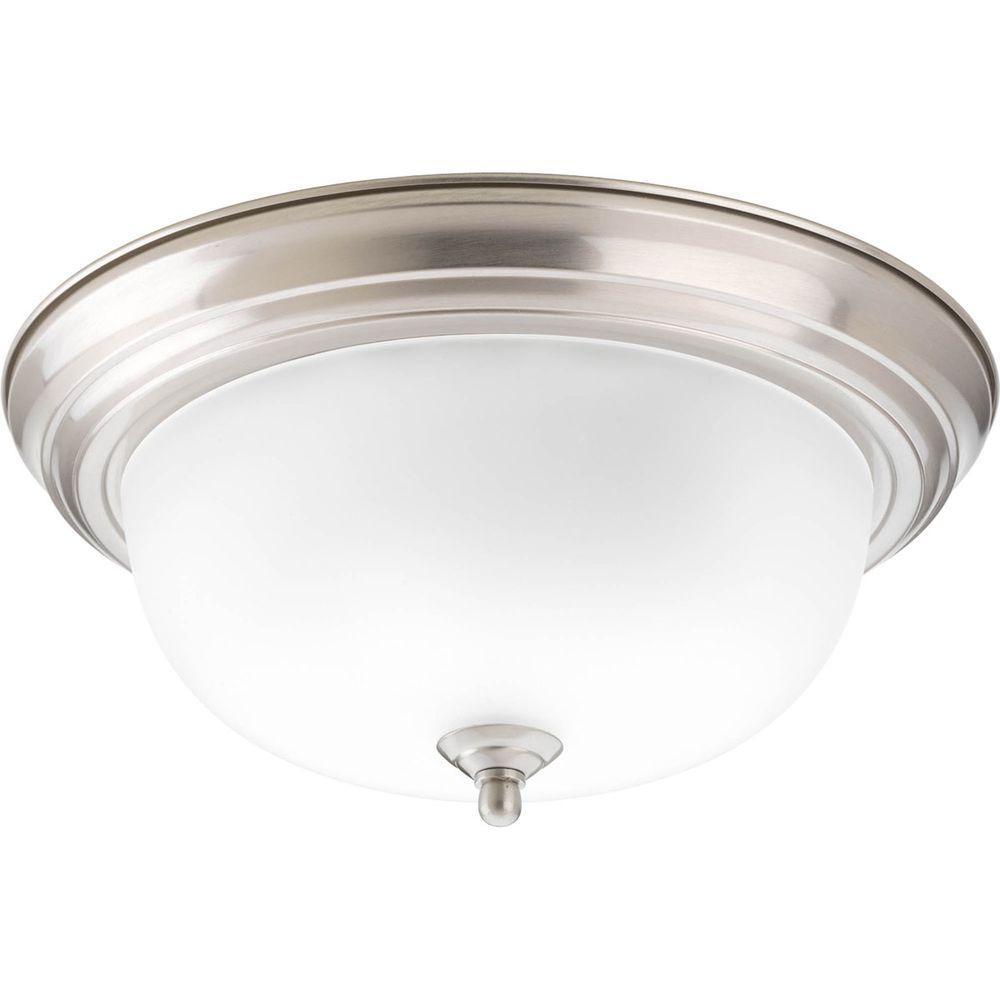 2-Light Brushed Nickel Flushmount with Alabaster Glass