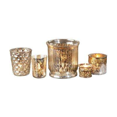 Audrey 5 in., 4 in., 3 in. and 2 in. Silver Mercury Glass Candle Holders (Set of 5)