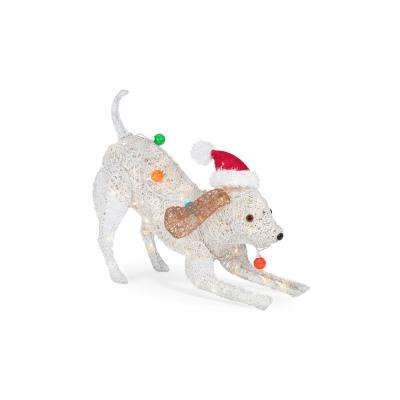 warm white led pvc dog with holiday bulbs