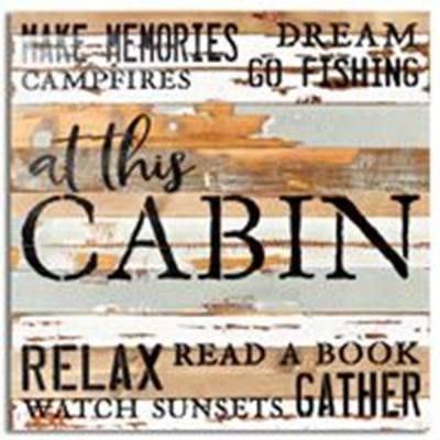 """At The Cabin"" Reclaimed Wood Decorative Sign"