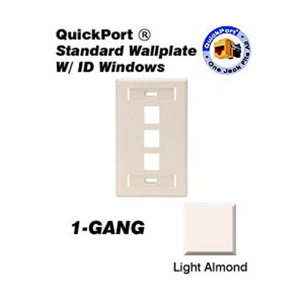 1-Gang Quickport Standard Size 3-Port Wallplate with ID Windows, Light Almond